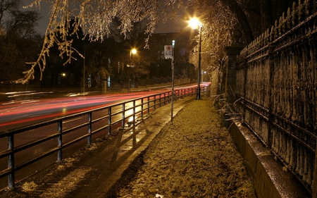 Nite road - wall, night, lights, trees, hdr, fence, road