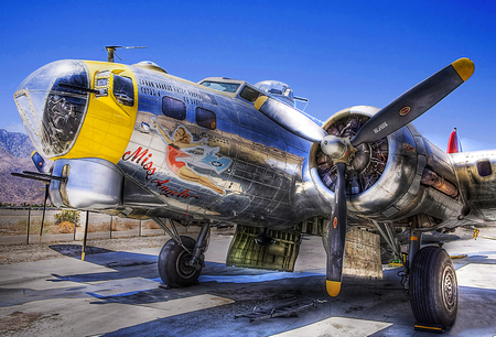 Old Airplane - war, plane, props, hot, yellow, hdr
