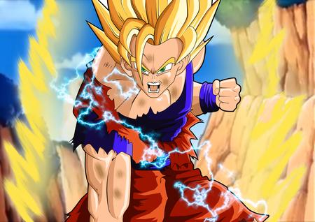 Ssj2 Goku Battle Damage Dragonball Anime Background