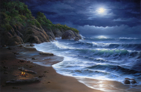 Night Lights - waves, blue, dark, moon, lights, logs, fire, cliffs, hills, rough, rocks, water, sand, clouds, camp, beach, sky, white caps