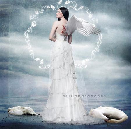 magical princess of shadows - 3d, magic, white, cg