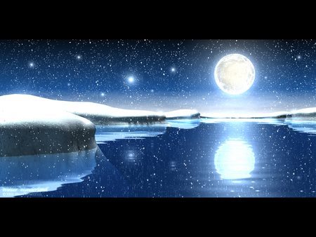 Winter wonderland - blue, white, sky, cold, colors, water, abstract, frozen, reflection, fantasy, stars, winter, 3g, popular, ice, moon