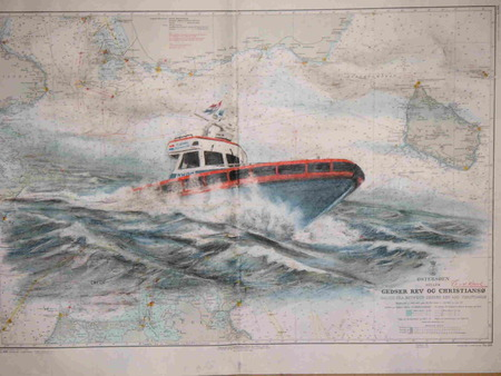 De Redder - sea map, waves, rescue, red, action, boat