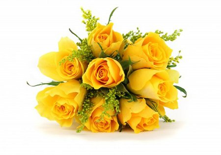 Yellow rose bouquet - rose, bouquet, yellow, white, flower