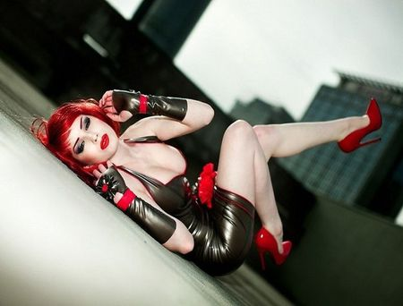latex dress, red shoes redhead - lips, shoes, red, latex, dress, model, woman, hair, black