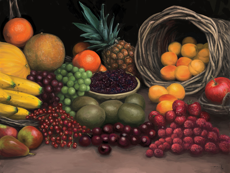 Fruit Galore - apple, pineapple, bananas, cherries, melons, black berries, oranges, grapes, basket, peaches, plums, bowl