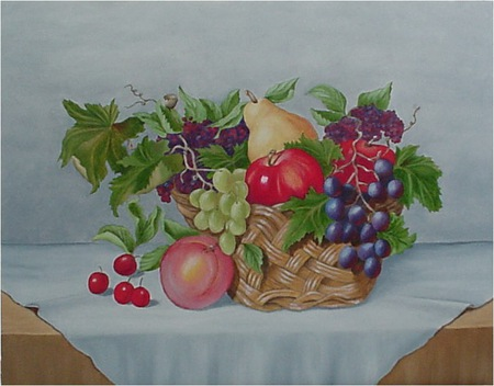 Floral Fruit - table, apples, grape leaves, wicker, cherries, grapes, pears, basket, peaches, table cloth