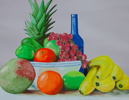 Sunny Sweets - pineapple, bottle, apples, bananas, limes, melons, oranges, grapes, bowl, blue