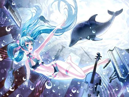 Hatsune Miku - pretty, musical instruments, sea animal, nice, anime, bubbles, aqua, beauty, vocaloids, underwater, twintail, ocean, swinsuit, miku, sexy, piano, cute, hatsune, cool, awesome, idol, hatsune miku, cholo, beautiful, sea, program, instruments, hot, vocaloid, diva, bikini, dolphin, girl, virtual, aqua hair