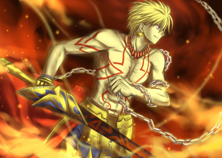 Gilgamesh - gold, fate stay night, warrior, gilgamesh, yellow, sword, armour