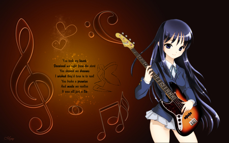 ♫♪ Music ♫♪ - pretty, beautiful, word, sweet, message, nice, anime, love, hot, beauty, anime girl, long hair, female, music note, sexy, abstract, cute, guitar, girl, blue hair, blue eye, heart, music instrument