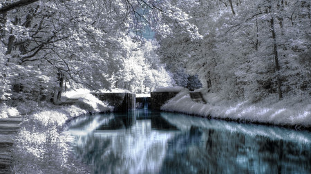 Winter Scenery - forest, trees, winter, water, snow, ice, nature, river, white, blue