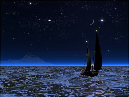 Christmas sail - christmas time, stars, ocean, red and green lights on boat, night, sailing, moon, sailboat