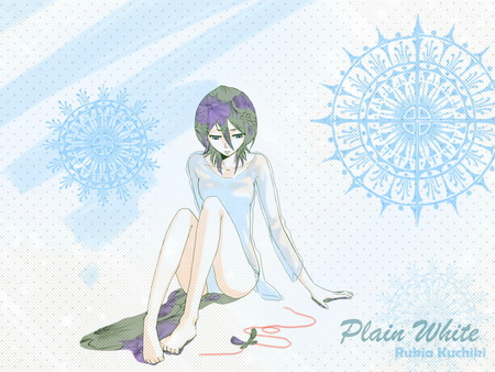 plain white - bleach, fall, snow, anime, white, dream, rukia, black hair, blue