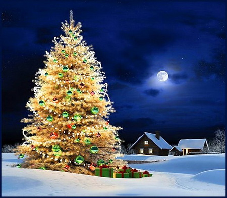 Christmas gold - gold color, christmas tree, house, lights, winter, moon, snow, gifts, night
