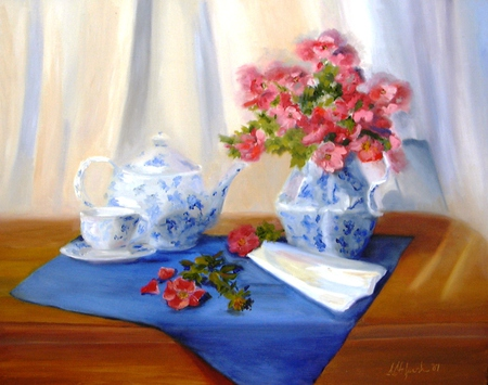 Nostalgia - red, table, doily, saucer, stems, pitcher, napkin, leaves, green, flowres, cup, tea pot, wooden, blue