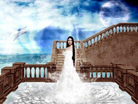 ONE WITH THE OCEAN - ocean, clouds, sky, moon, female, bird