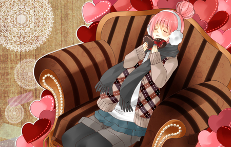 Happy Valentines Day! - hearts, headset, chocolate, megurine luka, headphones, pink, choco, anime, virtual, cute, brown, diva, vocaloids, awesome, idol, valentines, program, nice, vocaloid, cool, beauty, beautiful, megurine, girl, luka, pretty, scarf, mittins