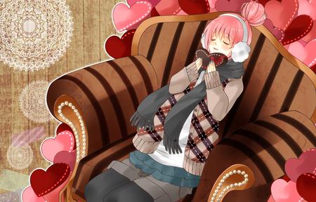 Happy Valentines Day! - hearts, headset, chocolate, megurine luka, headphones, pink, choco, anime, virtual, cute, brown, diva, vocaloids, awesome, idol, valentines, program, nice, vocaloid, cool, beauty, beautiful, megurine, girl, luka, pretty, scarf, mittins