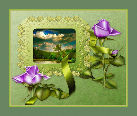 Roses and Ribbons - pretty, ribbons, lace, roses, green, nature