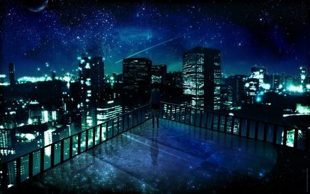 Light in the Night - dark sky, light, blue, sky, dark, star, shooting star, windows, houses, silent, stars, girl, house, night, black