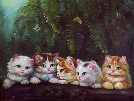 The Bonilla Family - fern, painting, kittens, adorable, outdoors, log