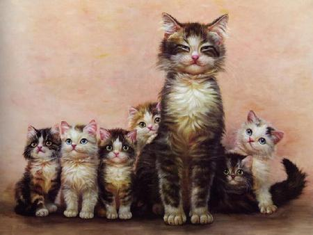 Mama Carmen & Her Babies - painting, kittens, adorable, cat, sweet