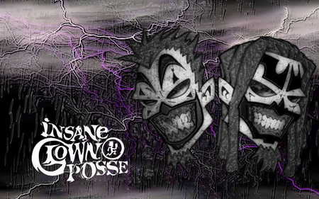 Insane Clown Posse Art - rock, music, clown, purple, rap, juggalo, drawing, black, insane clown posse
