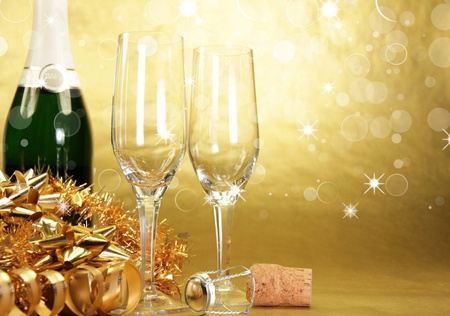 Champagne - beauty, lovely, christmas, glass, gold, magic, pretty, golden, new year, champagne, beautiful, glasses, bottle, merry christmas, gift, holiday, wine, photography, xmas, happy new year