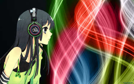Colorful - superstar, colorful, dress, akiyama mio, shine, multicolor, anime, bright, neon, color, hot, anime girl, long hair, headphone, light, black hair, k on, mio, female, neon light, black, diva, singer, sexy, abstract, cute, girl, blue eye, shining, dark, idol