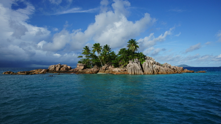 beautiful island - island, rocks, cool, pleasant, sea, nice, clouds, ocean, quiet, beach, sky, beautiful, palm, trees, nature