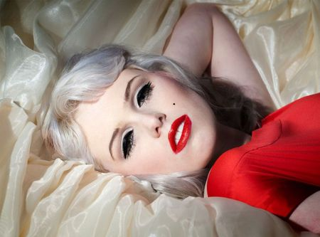 RED LIPS - MM - blond, silk, lips, red, dress, mm, woman, saten, look alike, pretty