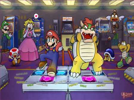 mario bowser ddr - bowser, female, nintendo, mario, videogame, princess peach, luigi, video game, toad, women, ddr, gumba, girl