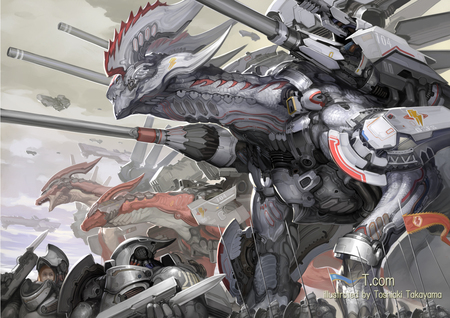 Mechanical Biological Dragons - original, war, machines, tech, cannon, dragon, illustration, weapons, cool, mecha, weapon