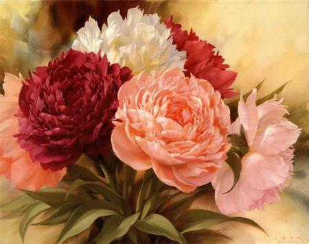 Passion, Purity, Friendship & Love - red, paintings, leaves, green, white, pink, floral
