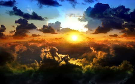 Dreamy Clouds - cloud, blue, clouds, golden, sky, sun