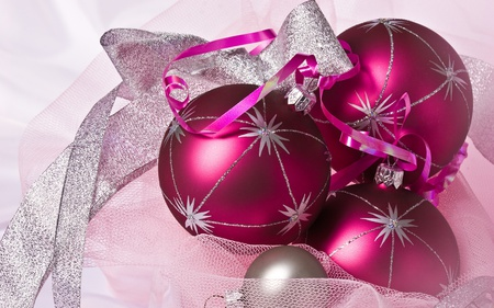 Christmas Balls - colorful, pink, balls, winter, ribbons, xmas, box, merry christmas, garland, decorations, ball, gifts, holidays, christmas decor, silver, gift, christmas, photography, bow, magic, year, happy holiday, new year, red, holiday, globe, sparkles, colors, nice, december, beauty, beautiful, lovely, others, purple, sparks, pretty, ornaments, happy new year, shinny, new