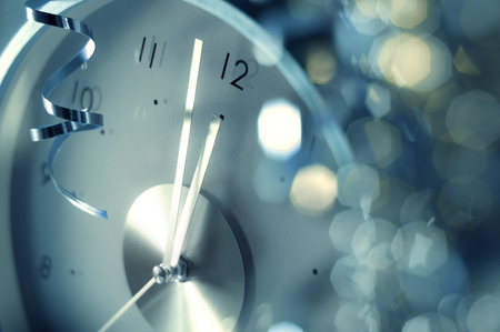5 minutes before New Year - photography, clock, garland, time, holidays, new year