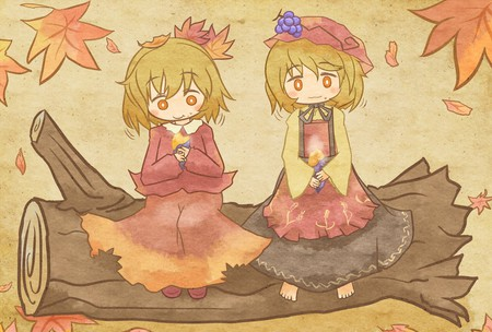 Nom-nom-nom *munch* - hair ornament, hairband, sisters, grapes, touhou, aki minoriko, orange eyes, blonde hair, hat, leaf, short hair, cute, yam, aki shizuha, potato, siblings, eating