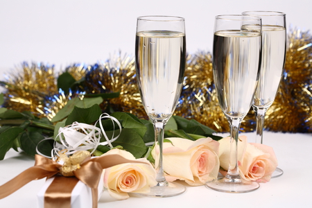 happy new year rose glasses box garlands beautiful photography