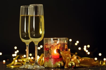 Happy New Year - beauty, lovely, christmas, candles, glass, gold, lights, balls, magic, pretty, golden, new year, champagne, candle, beautiful, glasses, merry christmas, holiday, ball, wine, colors, light, photography, xmas, happy new year