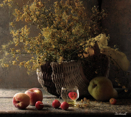 Pretty Wild - table, pear, wicker, cherries, liquid flowers, fruit, glass, twigs, basket, wild, peaches, branches, wood