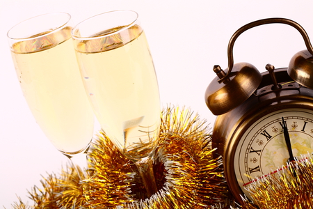 Happy New Year - drink, holiday, cool, nice, photography, champagne, beautiful, merry christmas, garlands, cups, clock, happy new year