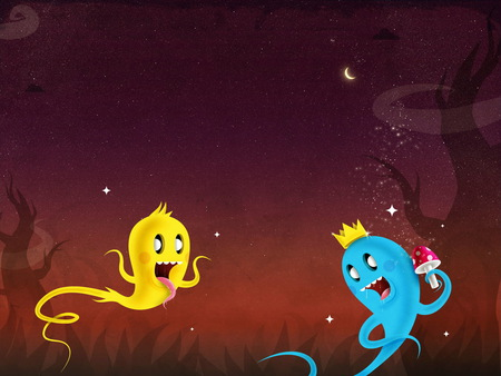 Funy spirits - spirit, funy, alesita, yellow, blue, night, spirits