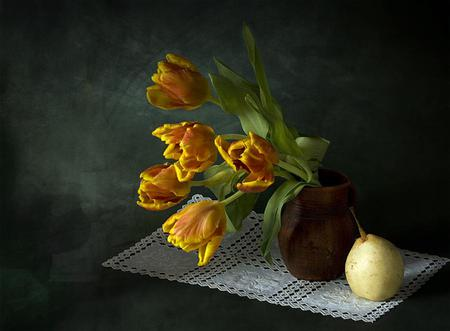 Colour Splash - apple, doily, lacey, stems, yellow, vase, spring, floral, still life, leaves, bouquet, flowers, tulips