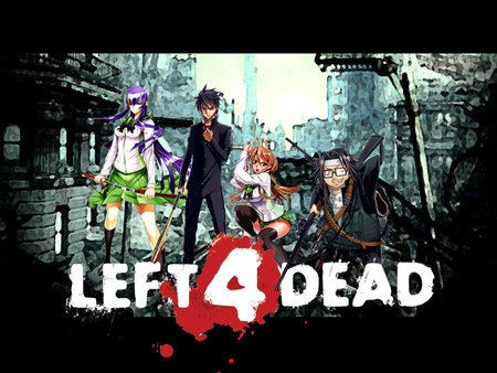 High School Of The Left 4 Dead - left 4 dead, high school of the dead, video game, crossover, hotd, blood, zombie, guns, anime