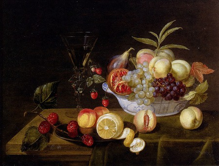 Fruit Bowl - vitimins, pomagranite, cherries, grapes, still life, fruit, peaches, plums, bowl, table, fresh, cloth, wine, rasberries, glass, pears, plate, juicy, wooden