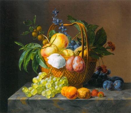On Display - fruits, wicker, marble, grapes, twigs, leaves, berries, basket, peaches, flowers, nature, colours, plums