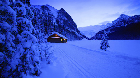 Winter Time - peaceful, winter time, other, path, winter, lights, road, cabin, house, christmas, tree, new year, blues, evening, holiday, mountain, landscape, blue, splendor, mountains, trees, nature, architecture, beauty, beautiful, lovely, houses, valley, snow, dusk, pretty, cottage, season, view