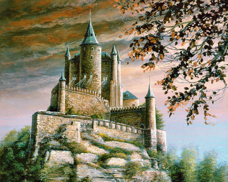 Painting Medieval Castle - tower, rock, branches, clouds, walls
